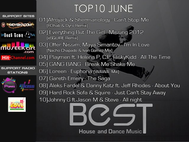 The Best House And Dance Top 10 June 2012