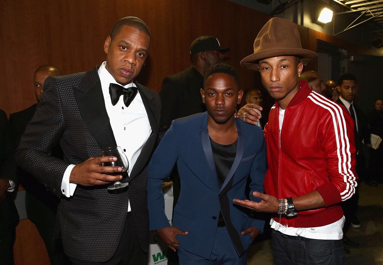 Jay-Z-Pharrell-posed-Kendrick-Lamar